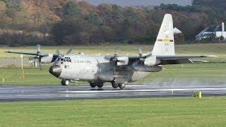 Download USAF Lockheed Martin C130H Landing at Prestwick Airport Video