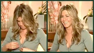 Download When JENNIFER ANISTON admits she still watches FRIENDS on TV... (and then her button pops...) Video