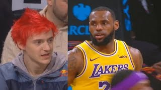 Download Ninja IMPRESSED By LeBron James & Lakers While Watching Courtside! Lakers vs Nets Video