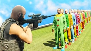 Download CAN 1 SNIPER BULLET KILL 100 CLOWNS!? (GTA 5 Funny Moments) Video