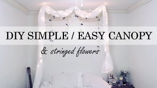 Download DIY - Simple No Nail Canopy / Stringed Flowers Wall Decor Video