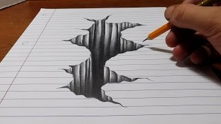 Download Trick Art on Line Paper - Drawing 3D Hole Video