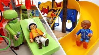 Download Be Careful on The Playground~! PLAYMOBIL Playground & Hospital Toys Play Video