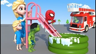Download Elsa and the Toddlers PLAY on the WATER SLIDE Inflatable POOL 3D clay Animation Movie Video