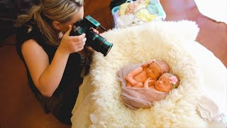 Download Photoshoot with ADORABLE IDENTICAL TWINS, newborn twins photography Video