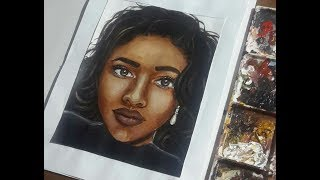 Download How to Paint a Portrait in Acrylics Timelapse - dark skin tone, semi-realistic Video