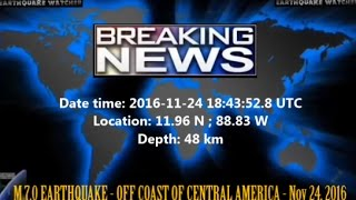 Download M 7.0 EARTHQUAKE - OFF COAST OF CENTRAL AMERICA - Nov 24, 2016 Video