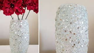 Download BLING HOME DECOR | INEXPENSIVE DIY | CRUSHED GLASS DECORATIVE VASE | HOME DECOR TRENDS!!! 2019 Video