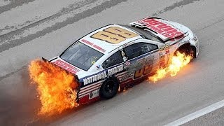 Download NASCAR | Dale Earnhardt Jr hits wall, car catches fire Video