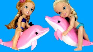Download Swimming with DOLPHINS ! Elsa & Anna toddlers go Scuba with Barbie - Splash - Water Fun Video