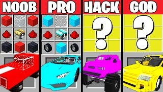Download Minecraft Battle: SUPER CAR CRAFTING CHALLENGE - NOOB vs PRO vs HACKER vs GOD ~ Minecraft Animation Video