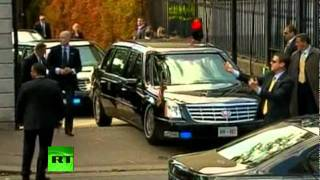 Download Video of Obama 'Beast' Cadillac limo stuck on ramp in Ireland Video