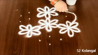 Download flower muggulu with dots | poo kolam | 7 pulli kolam| flower rangoli designs Video