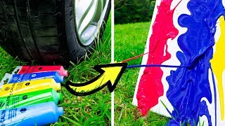 Download Car does Art! 15 DIY Projects Made by a Car! Video