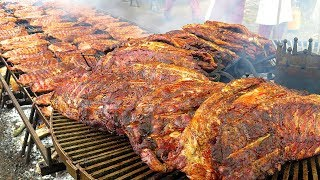 Download Biggest Rib Grill in Europe. Huge ! Seen on the Road in Italy. World Street Food Video