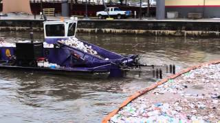 Download Baltimore City Trash Skimmer Boat in the Inner Harbor Video