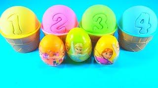 Download 4 Color Kinetic Sand in Ice Cream Cups   Surprise Toys Kinder Joy Yowie Zuru 5 Surprise Eggs Video