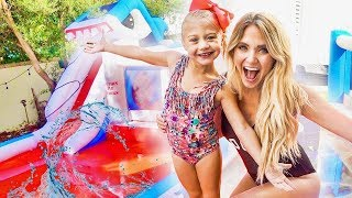 Download We put a GIANT inflatable WATERPARK in our backyard!!! (THEY WERE SO SURPRISED) Video