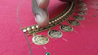 Download Lakshmi coin neck design in Aari embroidery Video