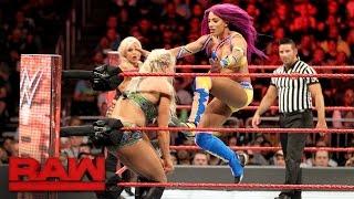 Download Bayley, Sasha Banks & Dana Brooke vs. Charlotte Flair, Nia Jax & Emma: Raw, April 3, 2017 Video