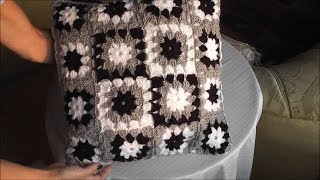 Download Patchwork crochet pillow multicolor pattern, crochet squares Finishing Part 3 of 3 Video