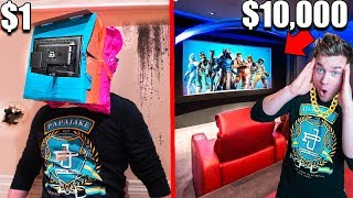 Download $1 Vs $10,000 Home Movie Theater!! Box Fort Challenge Video