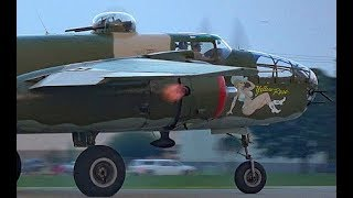 Download B-25 Flaming Exhaust in Twilight Launch at Oshkosh Video