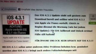 Download iOS 4.3.1 Software Update für iPhone 3GS,4 + iPod Touch 3G,4G & iPad 1,2 Video