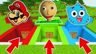 Download DO NOT CHOOSE THE WRONG SECRET BASE IN MINECRAFT PE! (Mario, Baldi, Gumball) Video