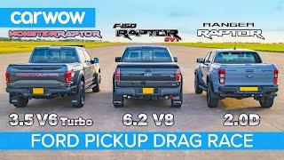 Download Ford F150 Raptor V6 Turbo vs F150 Raptor V8 SVT vs Ranger Raptor diesel - DRAG RACE & ROLLING RACE Video