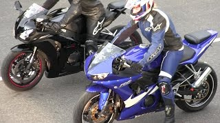 Download The best street bikes drag racing,R6 vs CBR 1000RR,Kawasaki Ninja and Kawasaki vs Hayabusa. Video
