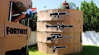Download NERF Fortnite PORT-A-FORTRESS IRL 1 VS 1 (MYSTERY WEAPONS) Video