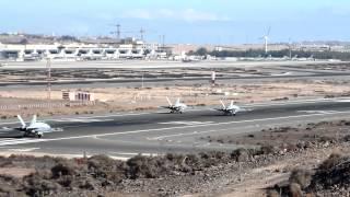 Download F18 Spain Air Force 4x takeoff at Gran Canaria Las Palmas Airport Video