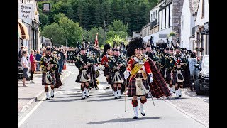 Download The Highlanders Pipes & Drums lead the Queen's Honour Guard through Ballater to barracks Aug 2018 Video