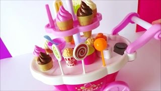 Download Toy ice cream cart learn colors names of foods lollipop candy chocolate strawberry ice cream kids to Video