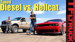 Download Drag Race: Rolling Coal Super Duty vs Supercharged HEMI Hellcat Video