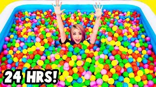 Download 24 HOURS CHALLENGE In a GIANT Ball Pit Video