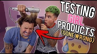 Download GUYS TESTING GIRL PRODUCTS 2 (STRAIGHTENING HIS HAIR *GONE WRONG*) Video