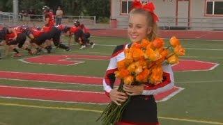 Download Football players surprise cheerleader battling cancer Video