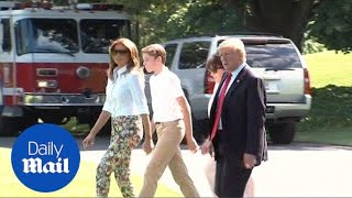 Download Trump heads to his New Jersey golf club with Melania and Barron - Daily Mail Video