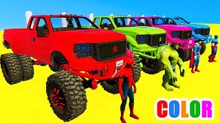 Download COLOR MCQUEEN Monster Truck in Spiderman Cars cartoon for babies with 3D Superheroes for kids! Video
