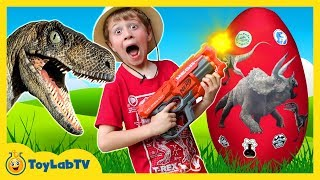 Download GIANT Life Size Raptor Attacks LB, Dinosaur Surprise Egg w/ Dino Kid Family Game, Toys & Gummy Candy Video
