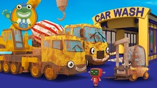 Download Cleaning Muddy Construction Trucks in the Car Wash with Gecko's Garage   Diggers for Children Video