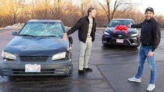 Download Destroying Friends Car and Buying Him a New One! Video