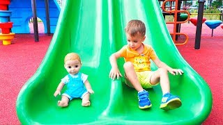 Download Vlad and Nikita Pretend play with Dolls on Outdoor playground Video