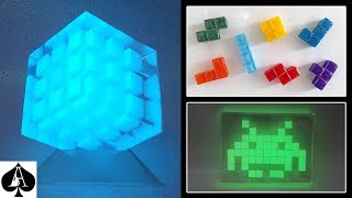 Download Epoxy Resin Pixel Cubes from Mini Ice Cube Mould | Tetris Fridge Magnets | Glow Cube | Space Invader Video