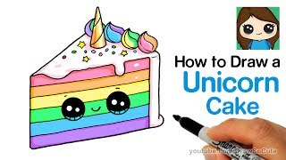 Download How to Draw a Unicorn Rainbow Cake Slice Easy and Cute Video