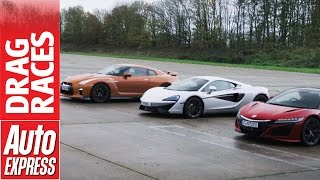 Download McLaren 540C vs Honda NSX vs Nissan GT-R drag race: plucky Brit takes on Japanese beasts Video