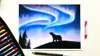 Download Drawing the Northern lights(Aurora borealis) with soft pastels | Leontine van vliet Video