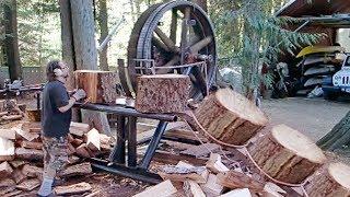Download 10 Dangerous Homemade Automatic Firewood Processing Machine, Wood Cutting Machine Splitting Firewood Video